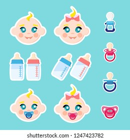 Set of children faces icons, baby bottles with milk, pacifiers/baby dummies,nipple thermometer,nibbler. Boy and girl with dummy. Stikers isolated on blue background. Vector illustration. Cartoon flat