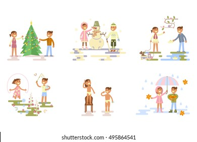 Set with children. Flat design, boy and girl in different places, poses and seasons. Autumn, winter, spring, summer. Cartoon characters, illustration vector