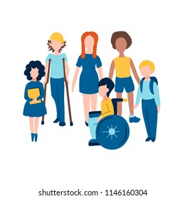 Set of children flat icons including disabled kids on wheelchair and crutches, red headed girl and afro-american boy for barrier-free environment in schools/university/city and tolerance to invalids