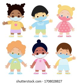 Set children in medical protective masks. Pandemic. On a white background. Vector illustration.