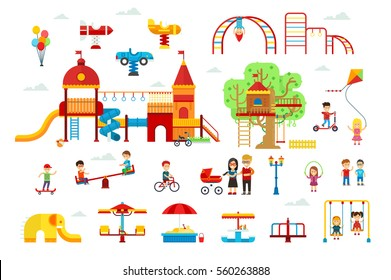 Set of children playground elements and attractions for kids vector flat illustration for infographic design. Swings, sandbox, slide isolated on white background. Family walking in the park