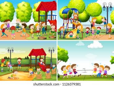 A Set of Children at Playground illustration