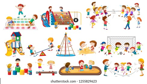 Set of children playing illustration
