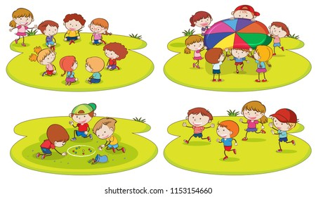A set of children playing at playground illustration