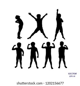 Set of children powerful. Vector silhouette of confident boy athlete showing his muscles, strength and power concept. Healthy child lifestyle. Isolated on white background. EPS10