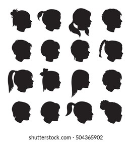 Set of children profiles silhouettes with different hairstyles