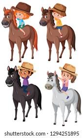 Set of children riding horse illustration