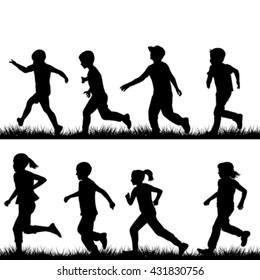 Set of children silhouettes running