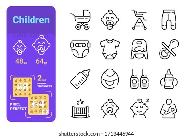 Set children simple lines icons of kid equipment. Concept collection modern symbols for baby care, internet, ad, web. Pixel perfect. Vector illustration.