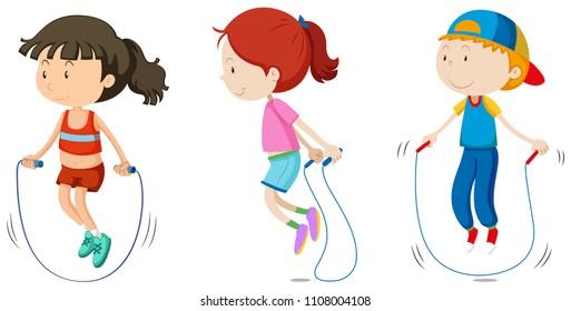 Set of children skipping illustration