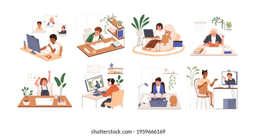 Set of children using PC and laptops. Kids playing computer games, coding, studying and chatting with friends online. Colored flat vector illustration of boys and girls isolated on white background
