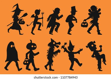 Set of children vector in halloween day.Children silhouette on orange background.