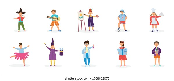 Set of childrens creative hobbies and outside interests with kids cartoon characters flat vector illustration isolated on white background. Sport, art and leisure.