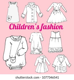 set of children's fashionable clothes isolated vector objects for design. Each vector object is created on the basis of a hand-drawn sketch
