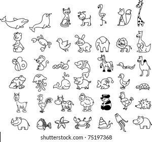 set of children's icons of animal, black and white coloring