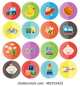 Set of children's icons . Children infographics .