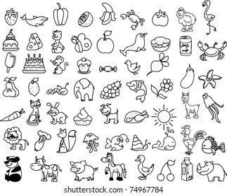 set of children's icons of food and animal, black and white coloring