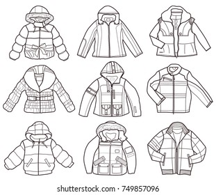 set of children's jackets isolated on white background (coloring book)