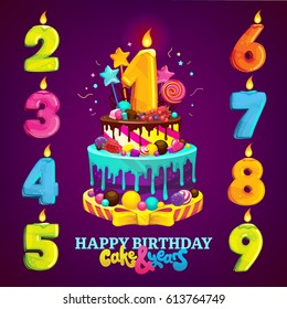 A set for a children's party. Happy birthday cake and numbers for each year. Vector illustration
