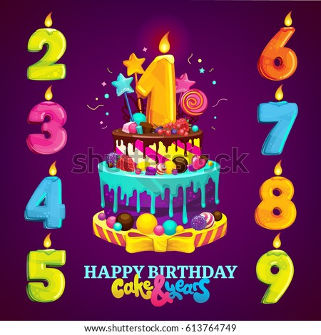 A Set For Childrens Party Happy Birthday Cake And Numbers Each Year