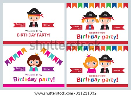 set childrens party invitations birthday pirate stock vector