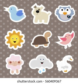 set of children's stickers of cute animals in cartoon style. collection baby of Nashik, labels and badges. baby shower or arrival. vector illustration. pattern for decoration or greetings