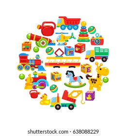 A set of children's toys, arranged in a circle. Vector illustration.