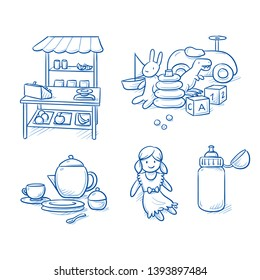 Set of children's toys as doll, supermarket, doll's dishes, water bottle, car and cube. Hand drawn blue line art cartoon vector illustration.