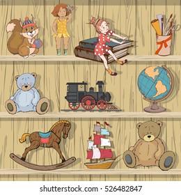Set of children's toys, vector illustration, play set.