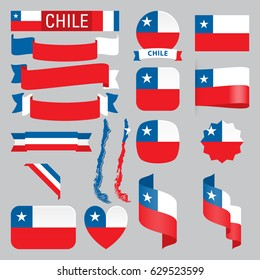 Set of Chile maps, flags, ribbons, icons and buttons with different shapes.