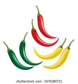 Set of chili pepper isolated on white background