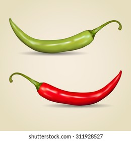 Set of chilli peppers on gray background