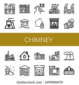 Set of chimney icons such as Factory, Nuclear plant, House, Power plant, Home, Fireplace, Air pollution , chimney