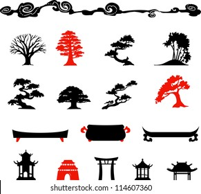 Set of chines bonsai trees Isolated on white background