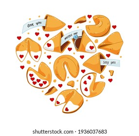 A set of Chinese cookies with predictions, with an engagement ring, a declaration of love. The engagement. Vector illustration.;