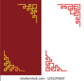 Set of Chinese corner in linear style, vector art