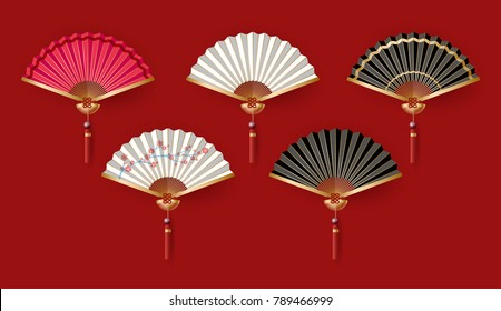 Set of Chinese fan on red background. vector illustration