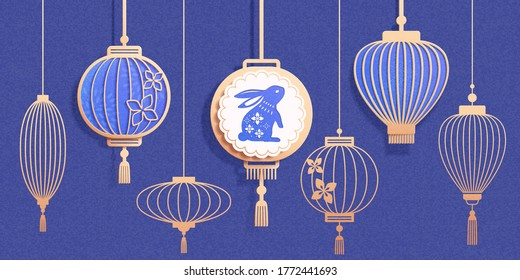 Set of Chinese lantern contours in 3d paper art style, isolated on navy blue background