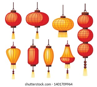 Set of Chinese lanterns in different shape - circular, cylindrical shapes. Flat vector illustration isolated on white background. Red and orange classic Asian lantern. Chinese New Year.