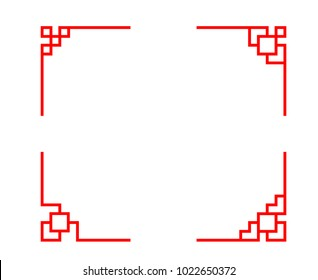Set of Chinese line corner in classic style, vector design