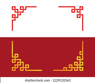 Set of Chinese line corner ornament, vector art
