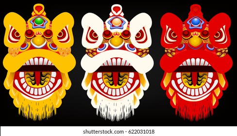 set of chinese lion head graphic vector