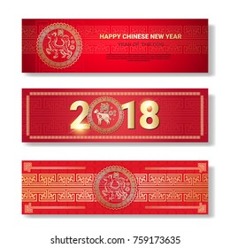Set Of Chinese New Year Banners In Red Color Isolated On White Background Flat Vector Illustration