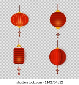Set of Chinese New Year lanterns in paper cut art style round and cylinder shape. Asian decoration for Mid-Autumn Festival, Chuseok and other holidays. Vector card illustration