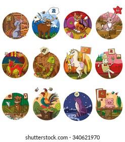 the set of chinese sign horoscope isolated