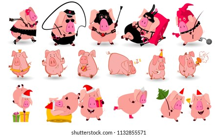 Set of chinese symbol of the 2019 year pig with different emotions. Vector isolated illustration. Creative design of the New Year's card in 2019 pig