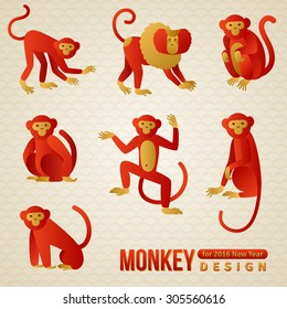 Set of Chinese Zodiac Monkeys. Vector illustration. 2016 New Year Symbol.