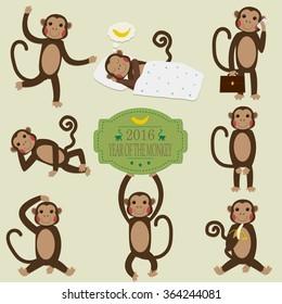 Set of Chinese Zodiac - Monkeys. Vector illustration. 2016 New Year Symbol.
