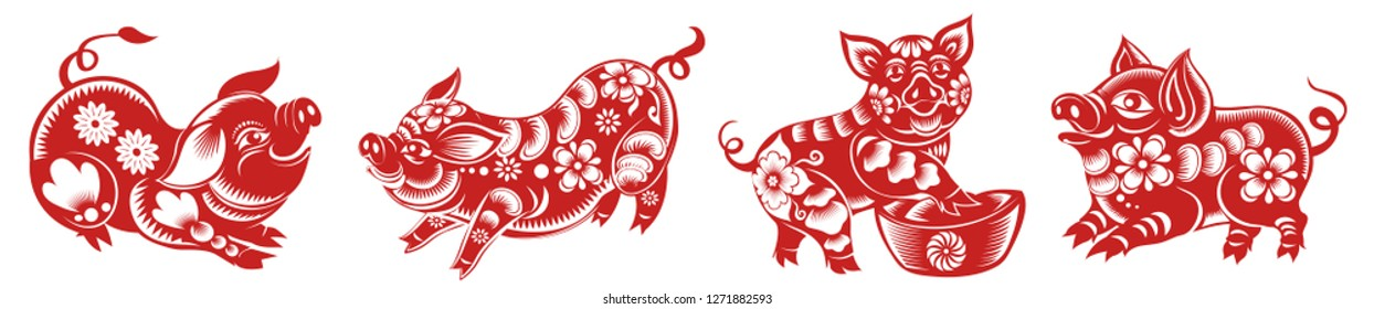 Set of Chinese Zodiac Sign Year of Pig,Red paper cut pig,Happy Chinese New Year 2019 year of the pig - Vector