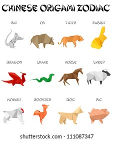 set of chinese zodiac signs in origami style appearance